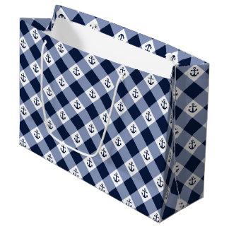 Diagonal nautical checkered gingham pattern large gift bag