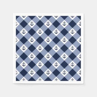 Diagonal nautical checkered gingham pattern paper napkin