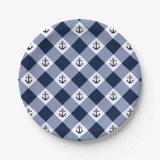 Diagonal nautical checkered gingham pattern paper plate