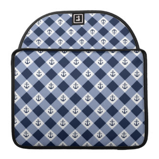 Diagonal nautical checkered gingham pattern sleeve for MacBooks
