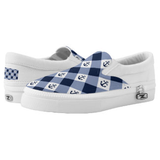 Diagonal nautical checkered gingham pattern Slip-On sneakers