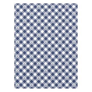 Diagonal nautical checkered gingham pattern tablecloth