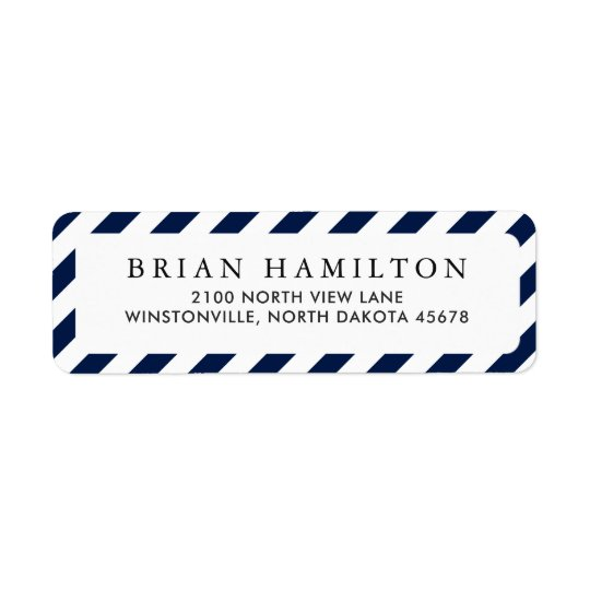 Diagonal Navy Stripes | Return Address Return Address Label