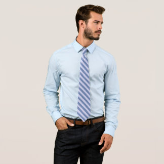 Diagonal Pastel Blue Stripes on Custom Color Tie