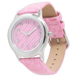 Diagonal Pink Hearts Watch