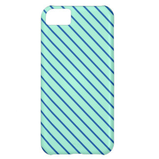 Diagonal pinstripes - aqua  and navy cover for iPhone 5C