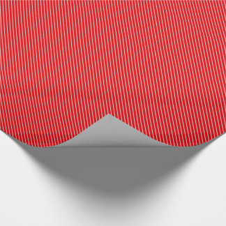 Diagonal pinstripes - deep red and white wrapping paper