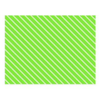 Diagonal pinstripes - lime green and white postcard