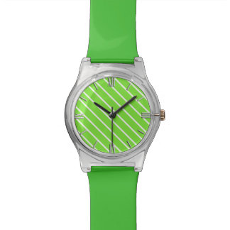 Diagonal pinstripes - lime green and white watch