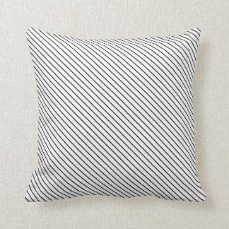 Diagonal pinstripes - white and black throw pillow