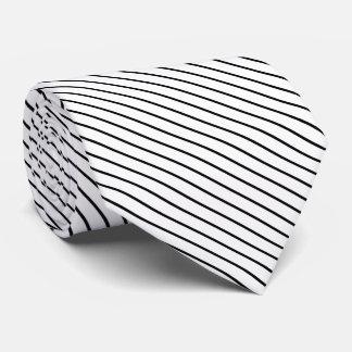 Diagonal pinstripes - white and black tie