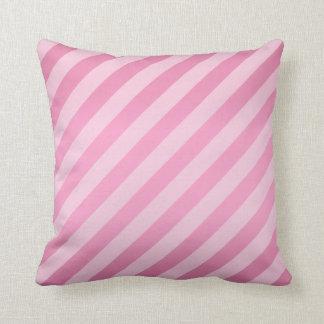Diagonal Pretty Pink Stripe  Pattern Throw Pillow