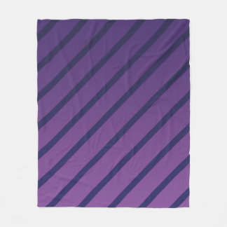 Diagonal Purple and Deep Blue Stripes Fleece Blanket