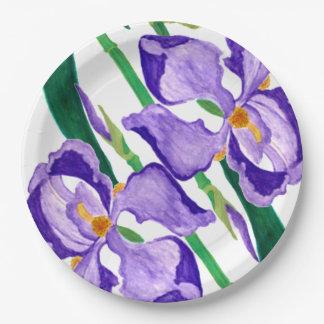 Diagonal Purple Iris Paper Plate