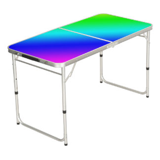 Diagonal Rainbow Gradient Beer Pong Table