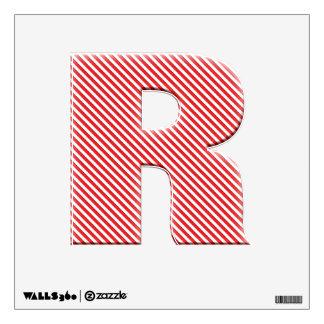 Diagonal Red Stripe Alphabet - Initial R Wall Sticker
