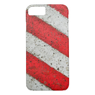 Diagonal red white lines urban texture traffic sig iPhone 7 case