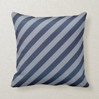 Diagonal Slate Blue Stripe  Pattern Throw Pillow