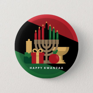 diagonal stripe Happy Kwanzaa 2 Inch Round Button
