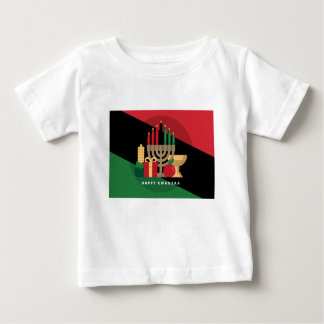 diagonal stripe Happy Kwanzaa Baby T-Shirt