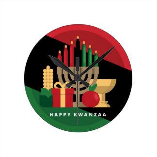 diagonal stripe Happy Kwanzaa Round Clock
