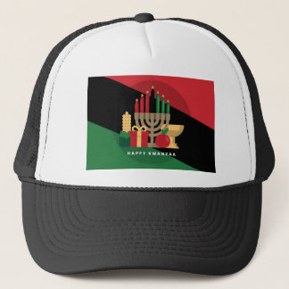 diagonal stripe Happy Kwanzaa Trucker Hat