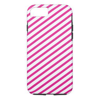 Diagonal Stripe Hot Pink Pattern iPhone 7 Case