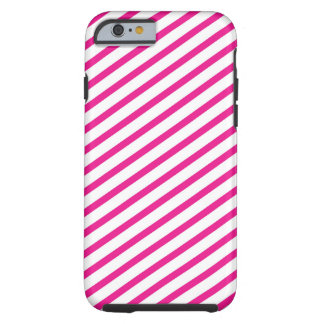 Diagonal Stripe Hot Pink Pattern Tough iPhone 6 Case
