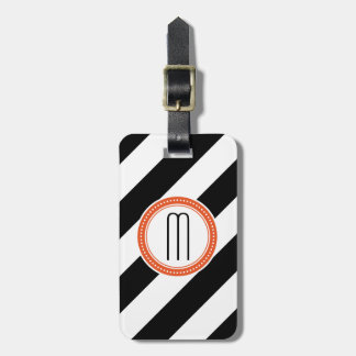 Diagonal Stripe Monogram Luggage Tag - coral