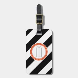 Diagonal Stripe Monogram Luggage Tag - coral