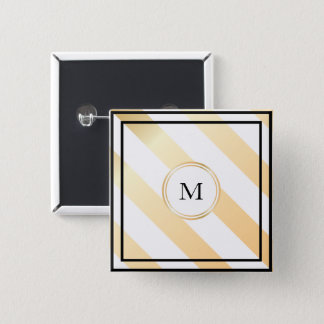 Diagonal striped monogram | Button