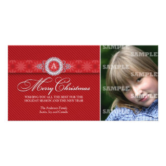 Diagonal Striped Monogram Christmas Photo Card