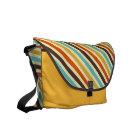 Diagonal Stripes 4 Retro Colours Blue Yellow Red Messenger Bag