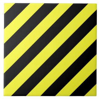 diagonal stripes black and yellow ceramic tile
