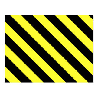 diagonal stripes black and yellow postcard