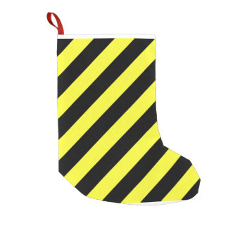 diagonal stripes black and yellow small christmas stocking