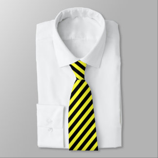 diagonal stripes black and yellow tie