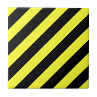 diagonal stripes black and yellow tile