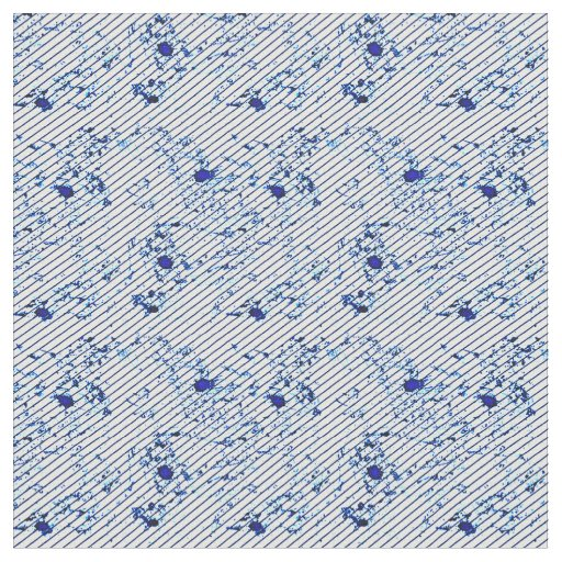 Diagonal Stripes Blue Ink Splatter Fabric