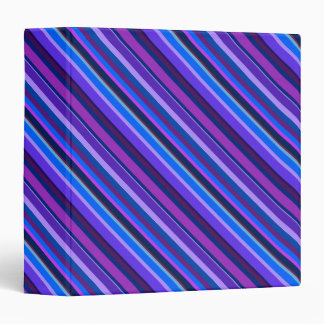 Diagonal stripes in blue and purple 3 ring binders