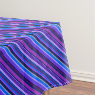 Diagonal stripes in blue and purple tablecloth