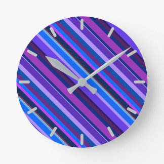 Diagonal stripes in blue and purple wallclock