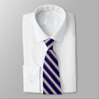 Diagonal Stripes in White, Red, Gray and Navy Blue Tie