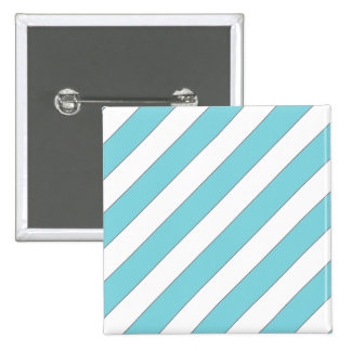 diagonal stripes light blue 2 inch square button