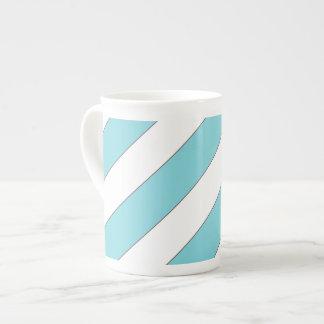 diagonal stripes light blue tea cup