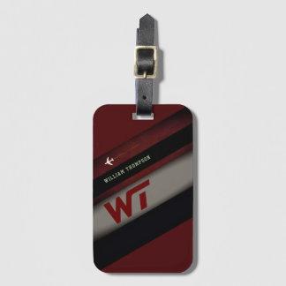 diagonal stripes on cool monogrammed dark red luggage tag