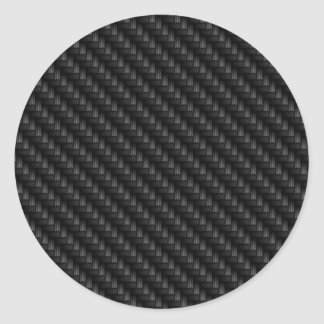 Diagonal Tightly Woven Carbon Fiber Texture Round Sticker