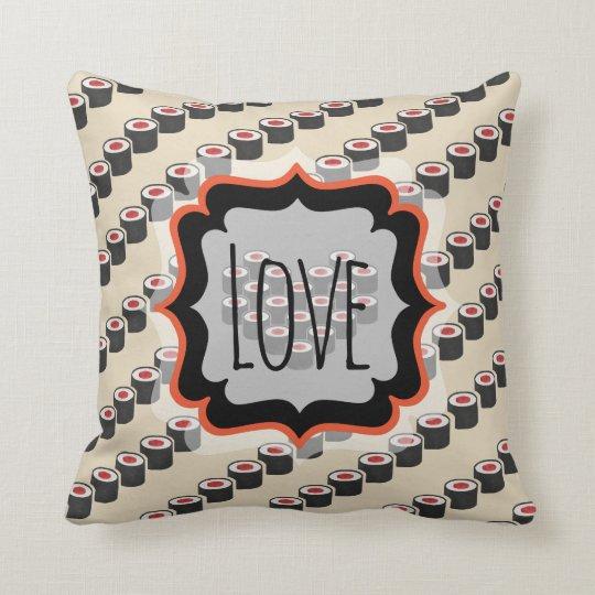 Diagonal Tuna Rolls with Custom Text Throw Pillow