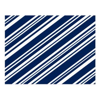 Diagonal Varied Indigo and White Stripes Postcard