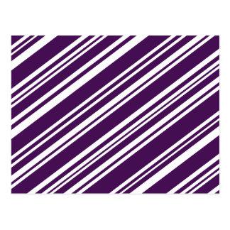 Diagonal Varied Purple and White Stripes Postcard